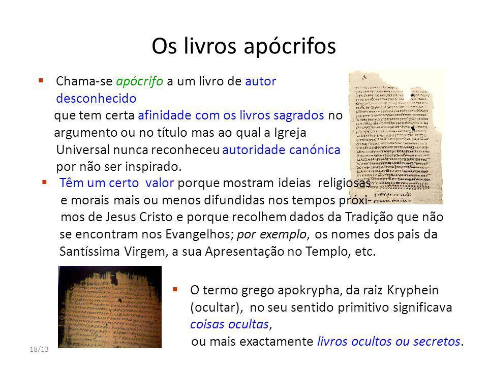 Os livros apócrifos Chama-se apócrifo a um livro de autor desconhecido