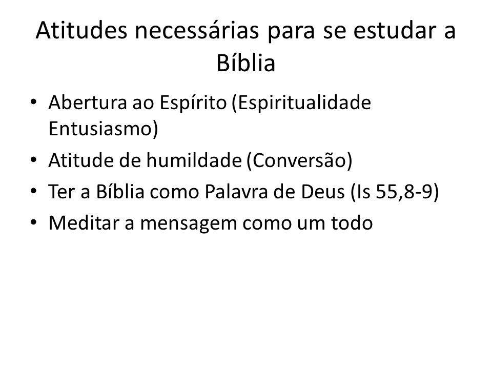 Atitudes necessárias para se estudar a Bíblia