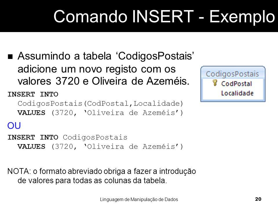 Comando INSERT - Exemplo