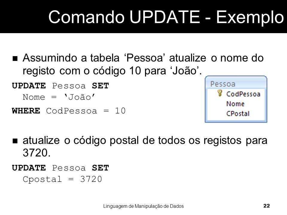 Comando UPDATE - Exemplo