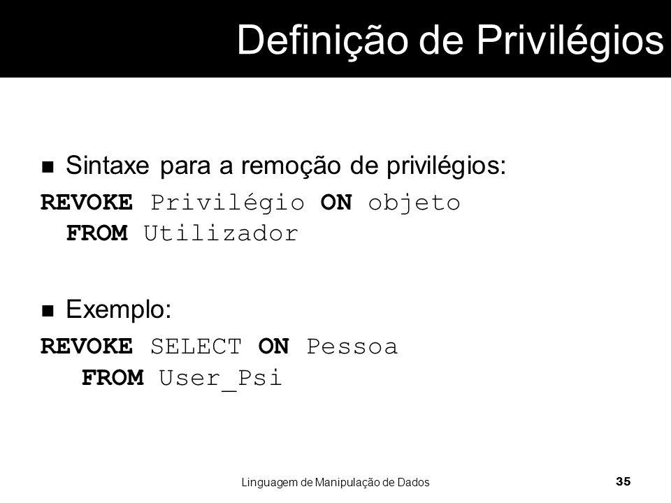 Definição de Privilégios
