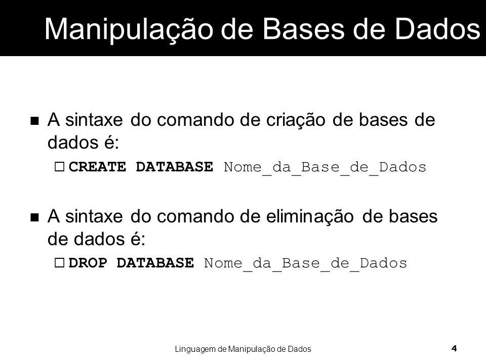 Manipulação de Bases de Dados