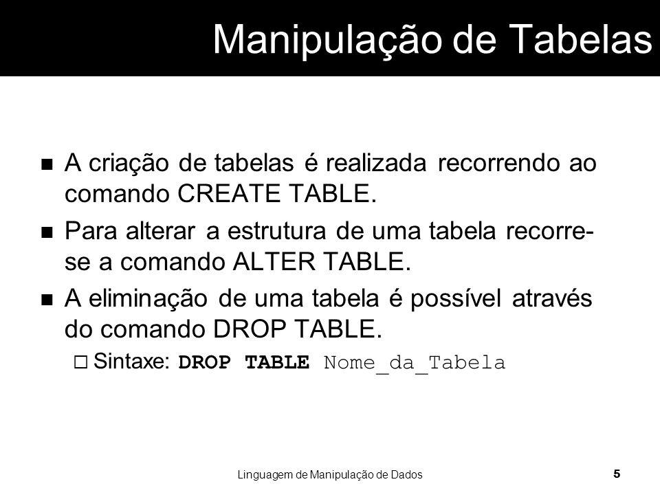 Manipulação de Tabelas