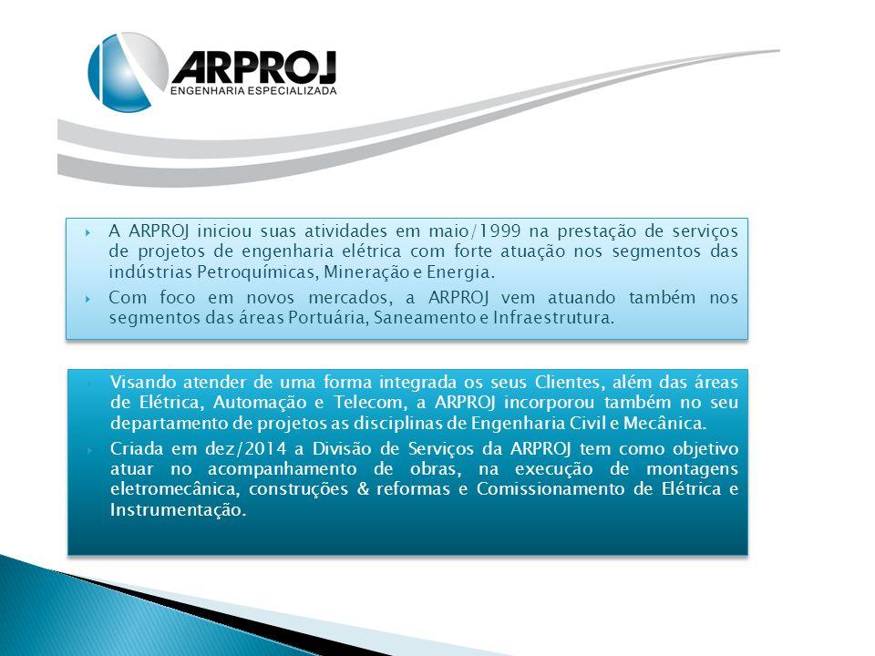 A ARPROJ iniciou suas atividades em maio/1999 na prestação de serviços de projetos de engenharia elétrica com forte atuação nos segmentos das indústrias Petroquímicas, Mineração e Energia.