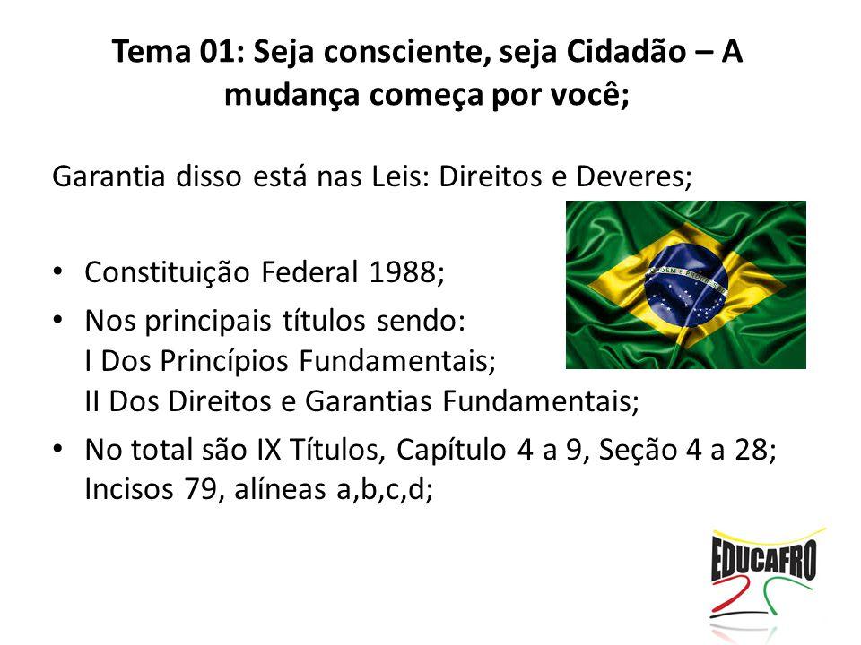 Tema 01: Seja consciente, seja Cidadão – A mudança começa por você;