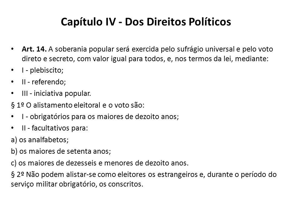 Capítulo IV - Dos Direitos Políticos