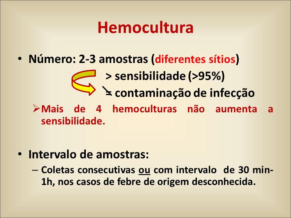 Hemocultura Número: 2-3 amostras (diferentes sítios)
