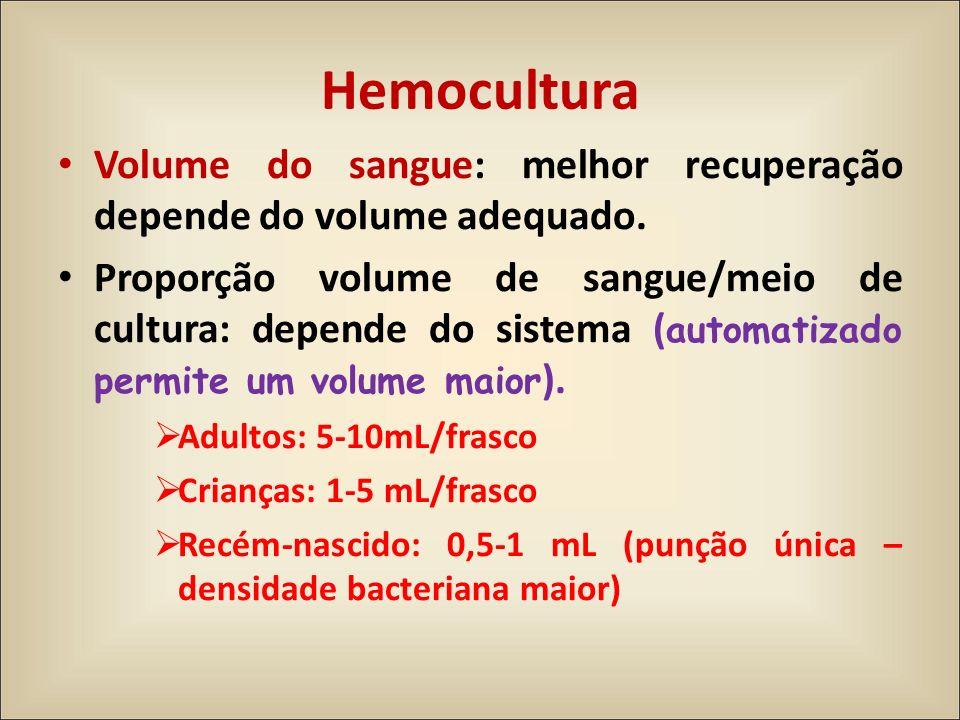Hemocultura Volume do sangue: melhor recuperação depende do volume adequado.