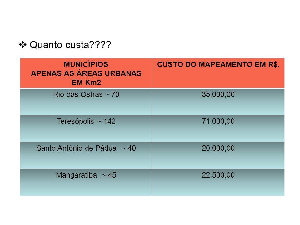 APENAS AS ÁREAS URBANAS CUSTO DO MAPEAMENTO EM R$.