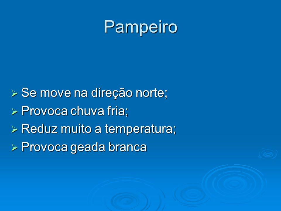 Pampeiro Se move na direção norte; Provoca chuva fria;