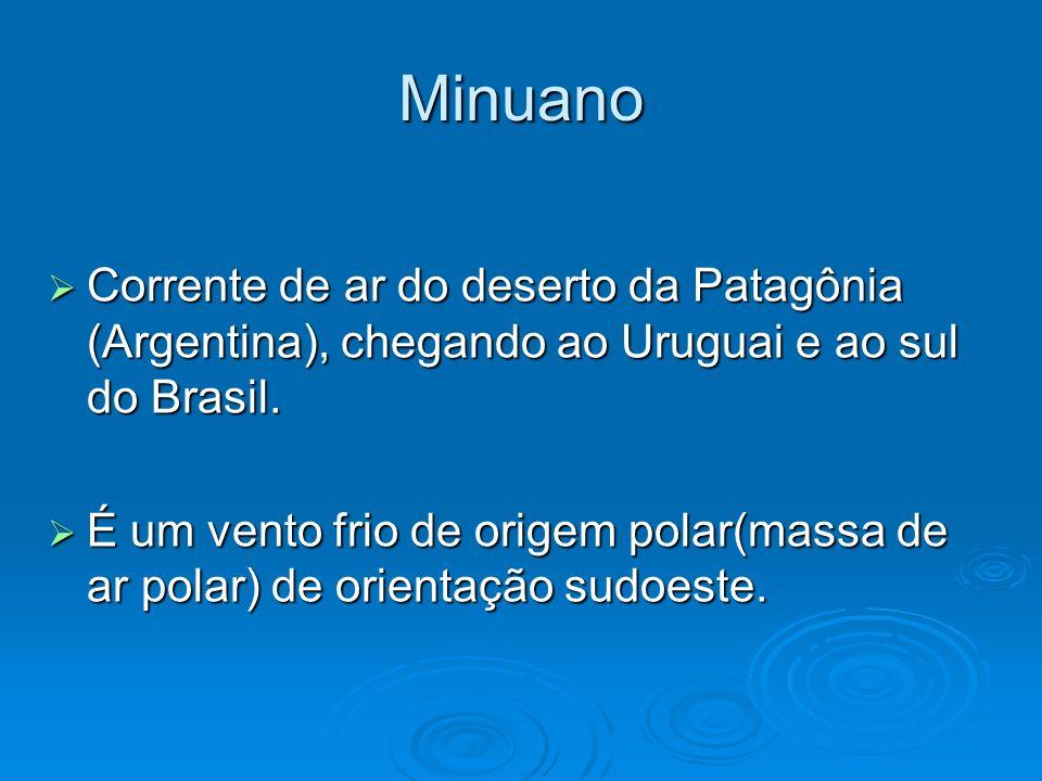 Minuano Corrente de ar do deserto da Patagônia (Argentina), chegando ao Uruguai e ao sul do Brasil.
