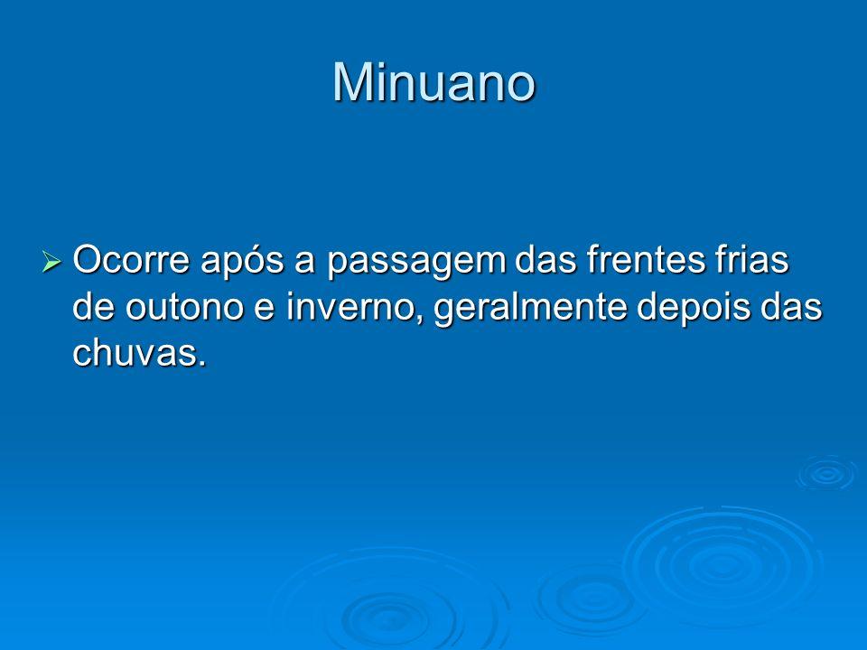 Minuano Ocorre após a passagem das frentes frias de outono e inverno, geralmente depois das chuvas.
