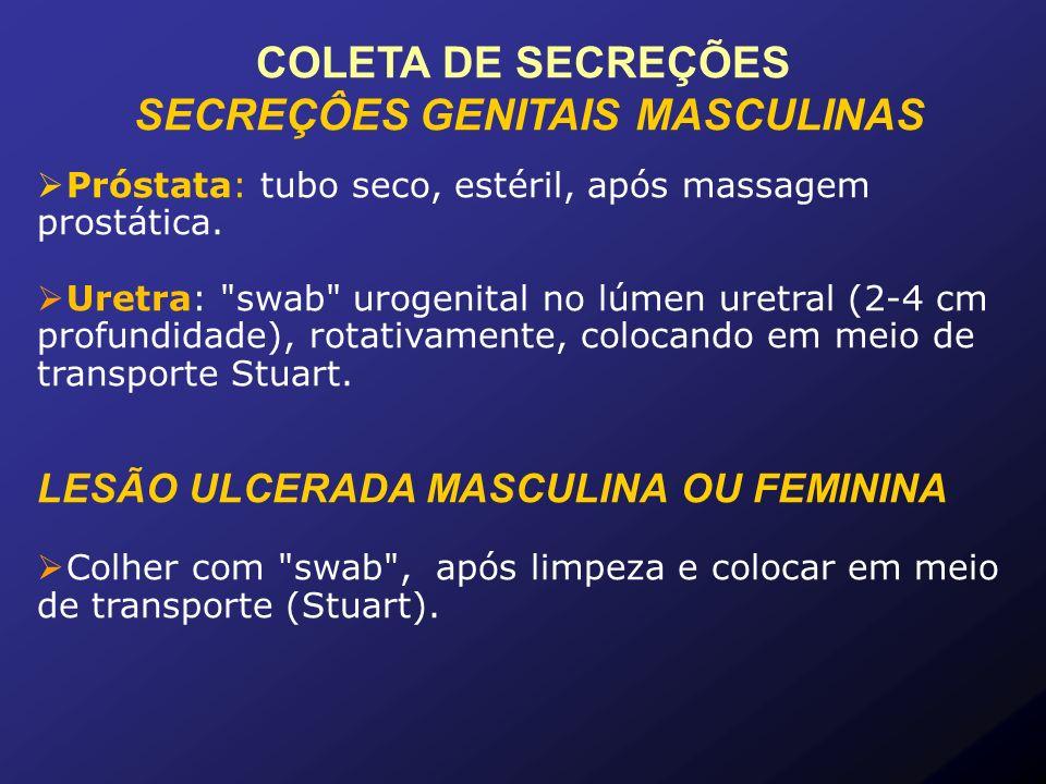 SECREÇÔES GENITAIS MASCULINAS