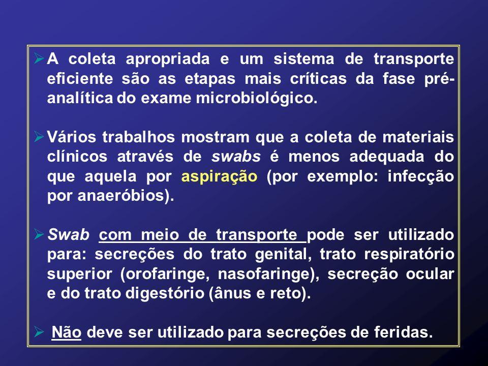 A coleta apropriada e um sistema de transporte eficiente são as etapas mais críticas da fase pré-analítica do exame microbiológico.