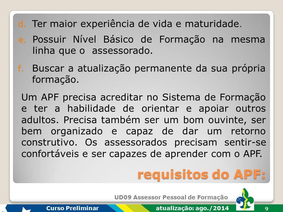 requisitos do APF: Ter maior experiência de vida e maturidade.