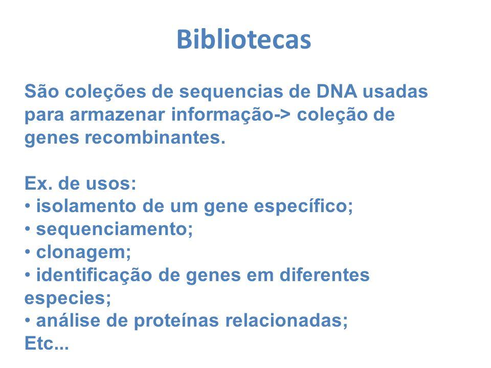 BibliotecasSão coleções de sequencias de DNA usadas para armazenar informação-> coleção de genes recombinantes.