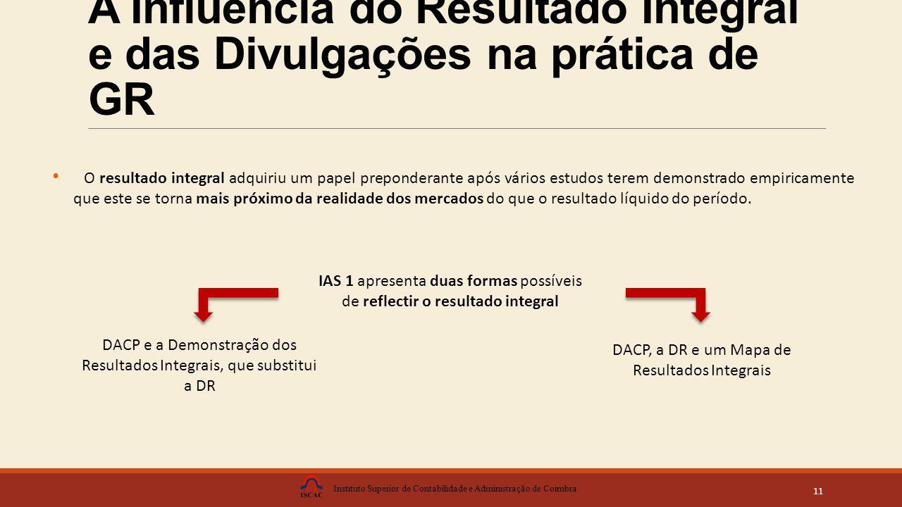 A Influência do Resultado Integral e das Divulgações na prática de GR