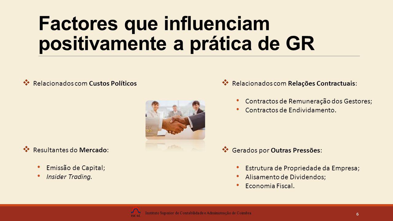 Factores que influenciam positivamente a prática de GR