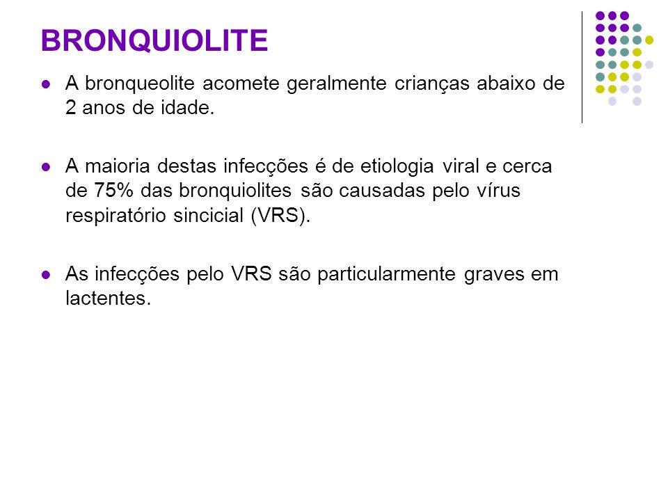 BRONQUIOLITE A bronqueolite acomete geralmente crianças abaixo de 2 anos de idade.