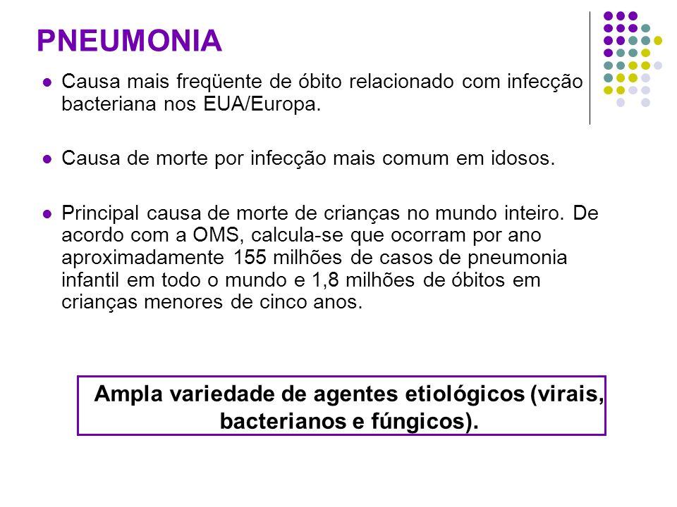 PNEUMONIA Causa mais freqüente de óbito relacionado com infecção bacteriana nos EUA/Europa.