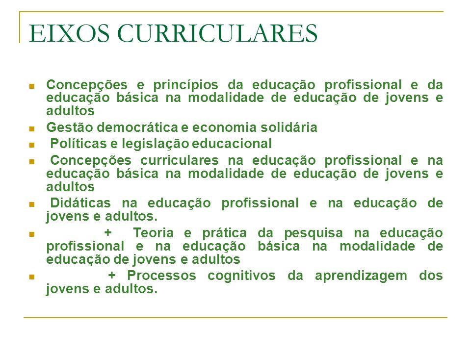 EIXOS CURRICULARESConcepções e princípios da educação profissional e da educação básica na modalidade de educação de jovens e adultos.