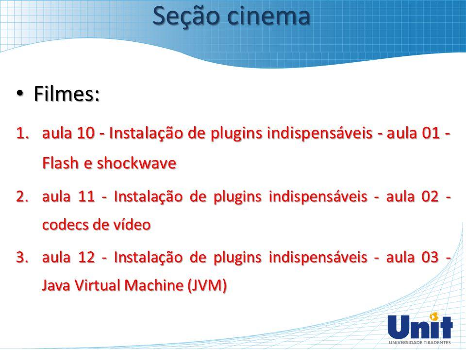 Seção cinema Filmes: aula 10 - Instalação de plugins indispensáveis - aula 01 - Flash e shockwave.