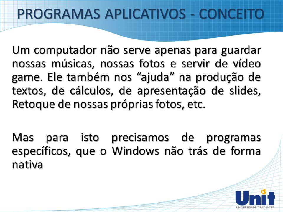 PROGRAMAS APLICATIVOS - CONCEITO