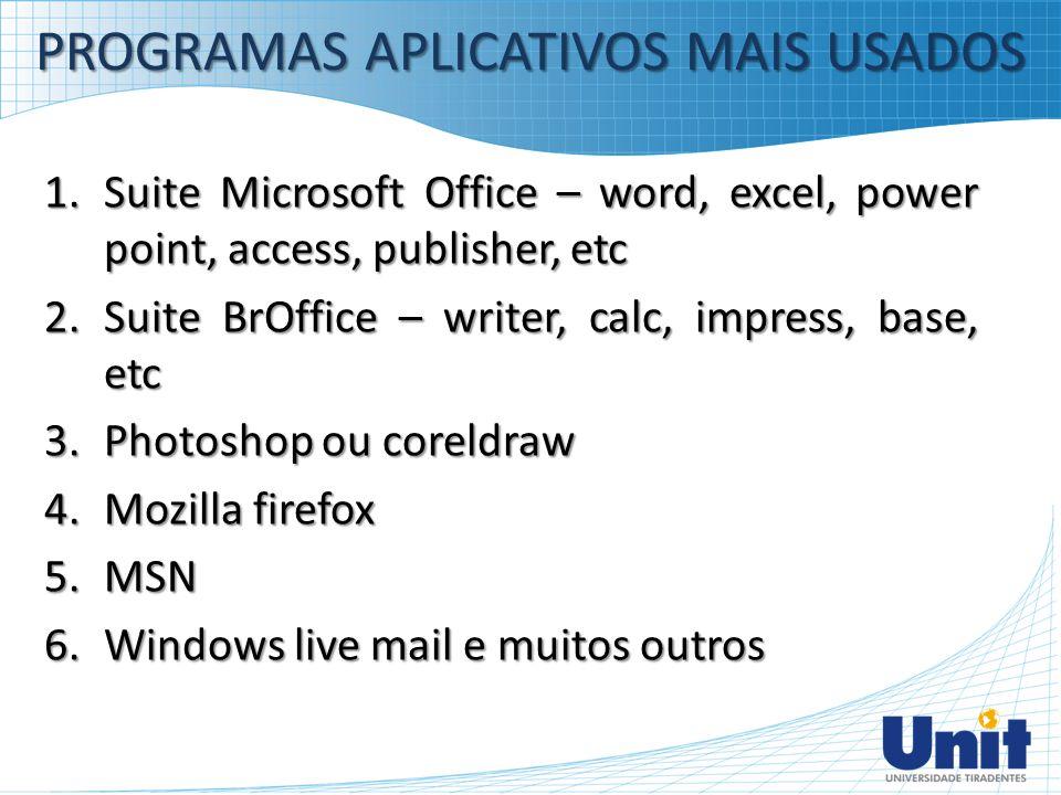PROGRAMAS APLICATIVOS MAIS USADOS