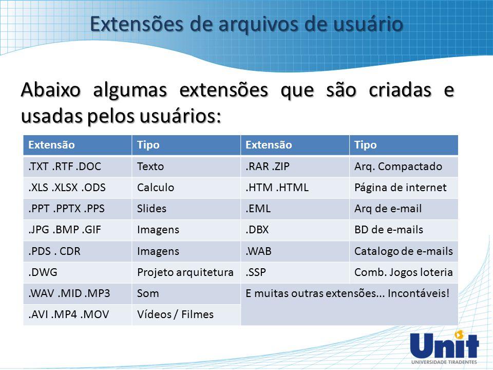 Extensões de arquivos de usuário