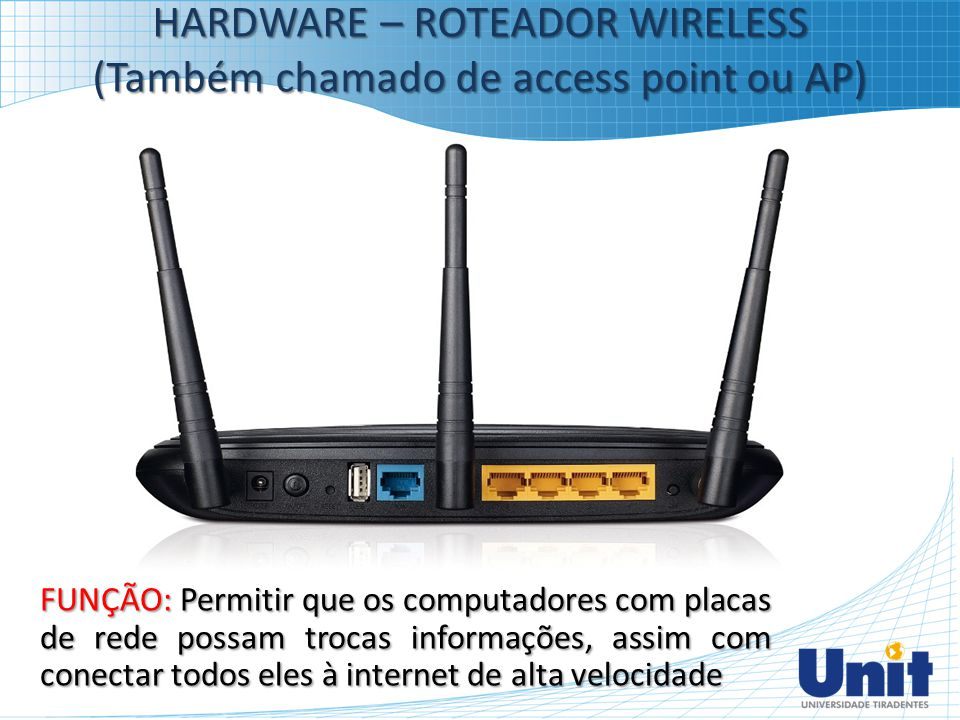 HARDWARE – ROTEADOR WIRELESS (Também chamado de access point ou AP)