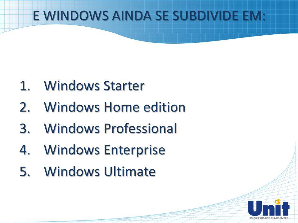 E WINDOWS AINDA SE SUBDIVIDE EM: