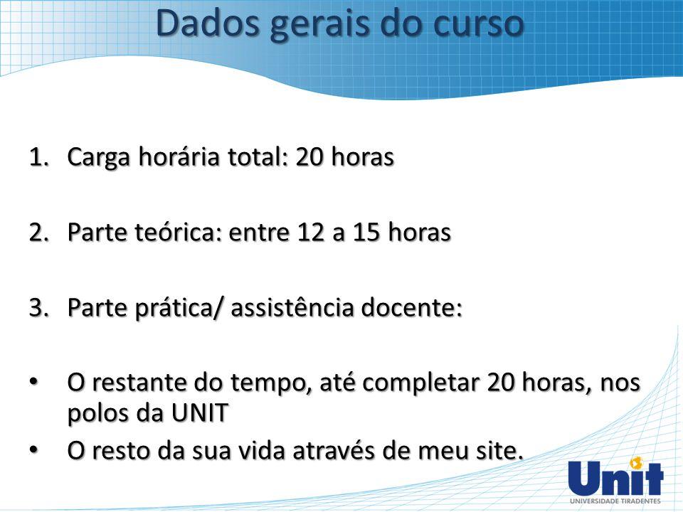 Dados gerais do curso Carga horária total: 20 horas