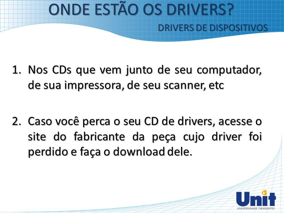 ONDE ESTÃO OS DRIVERS DRIVERS DE DISPOSITIVOS. Nos CDs que vem junto de seu computador, de sua impressora, de seu scanner, etc.