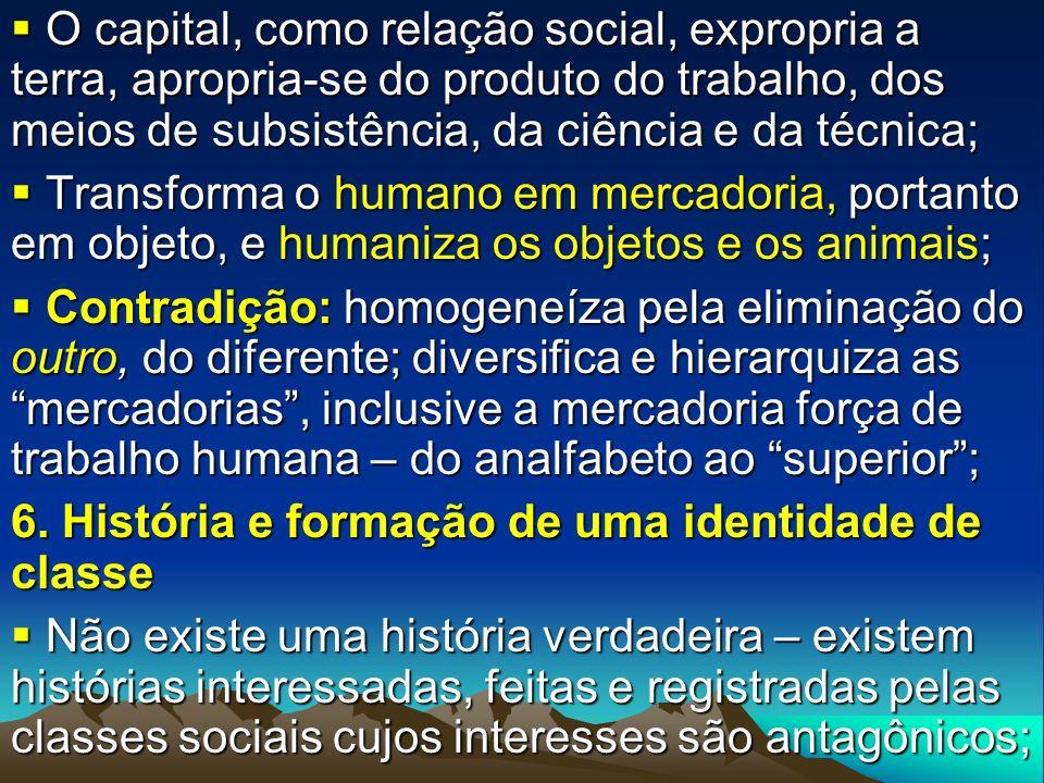 O capital, como relação social, expropria a terra, apropria-se do produto do trabalho, dos meios de subsistência, da ciência e da técnica;