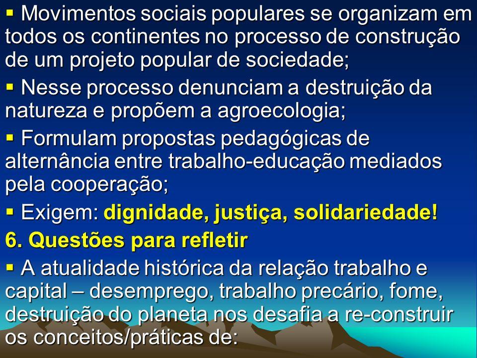 Movimentos sociais populares se organizam em todos os continentes no processo de construção de um projeto popular de sociedade;