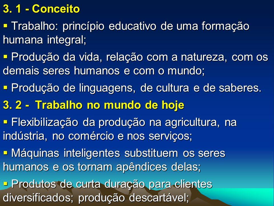 3. 1 - Conceito Trabalho: princípio educativo de uma formação humana integral;