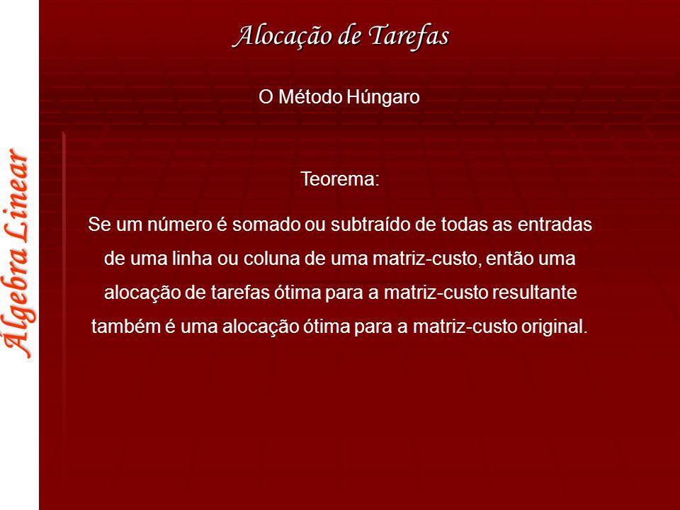 Alocação de Tarefas O Método Húngaro Teorema: