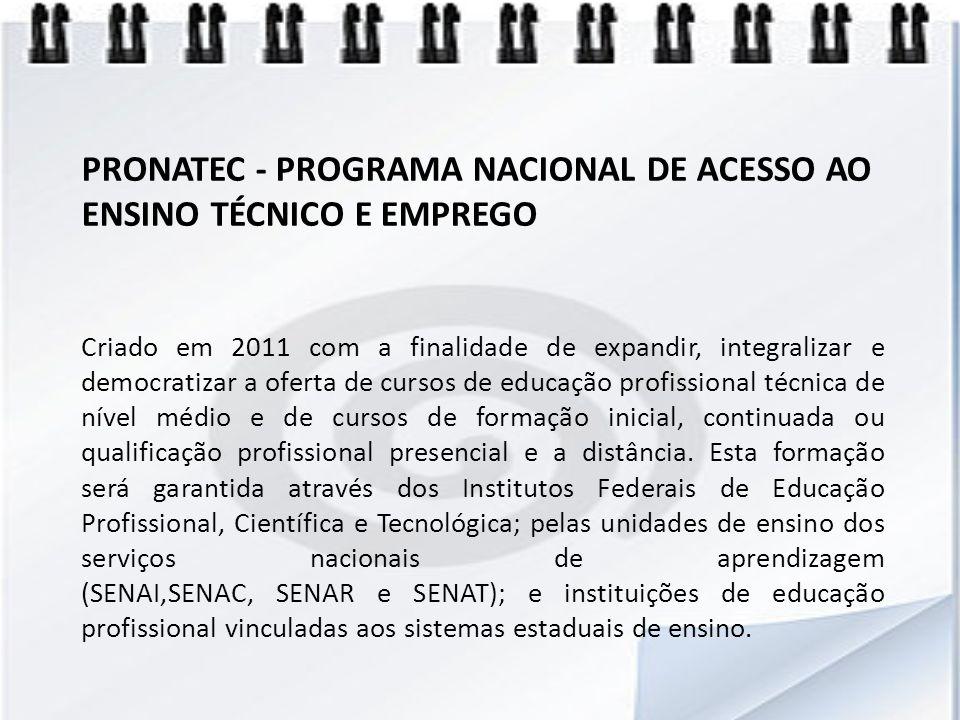 PRONATEC - PROGRAMA NACIONAL DE ACESSO AO ENSINO TÉCNICO E EMPREGO
