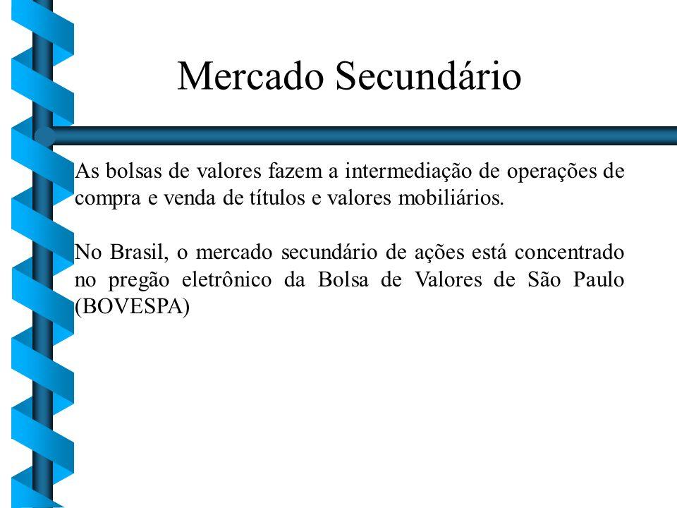 Mercado Secundário As bolsas de valores fazem a intermediação de operações de compra e venda de títulos e valores mobiliários.