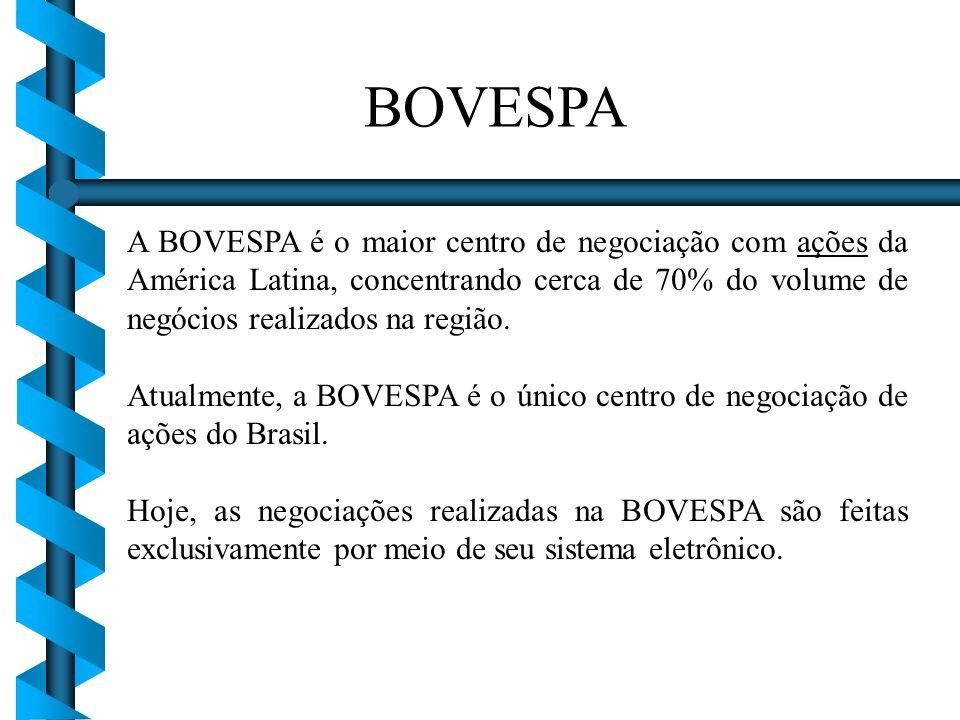 BOVESPA A BOVESPA é o maior centro de negociação com ações da América Latina, concentrando cerca de 70% do volume de negócios realizados na região.
