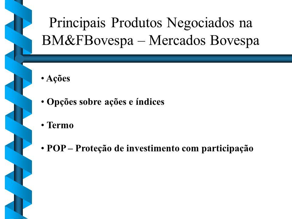 Principais Produtos Negociados na BM&FBovespa – Mercados Bovespa