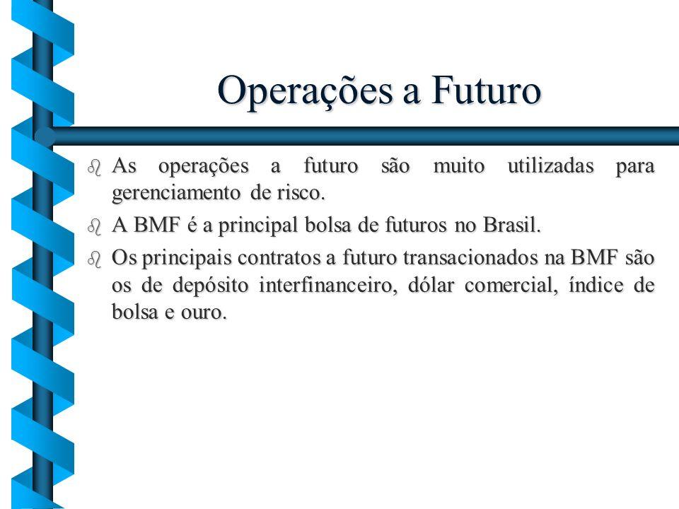 Operações a Futuro As operações a futuro são muito utilizadas para gerenciamento de risco. A BMF é a principal bolsa de futuros no Brasil.