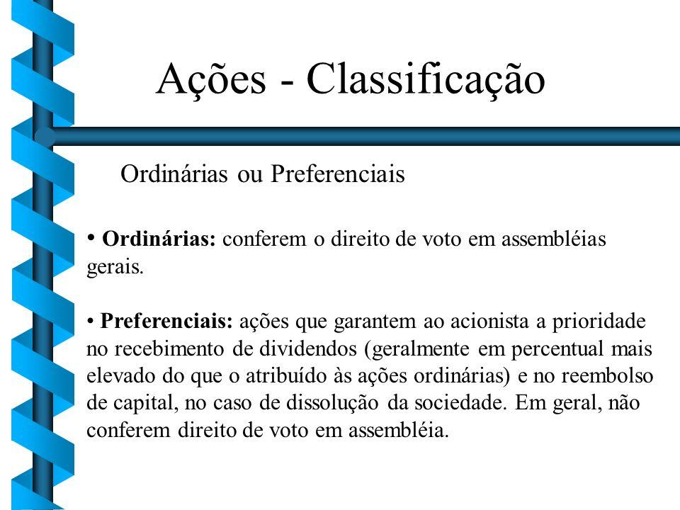 Ações - Classificação Ordinárias ou Preferenciais