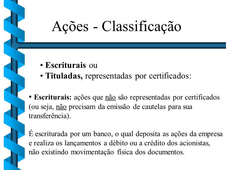Ações - Classificação Escriturais ou