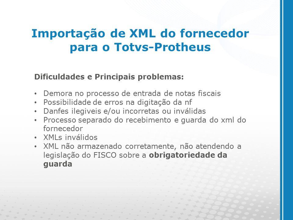 Importação de XML do fornecedor