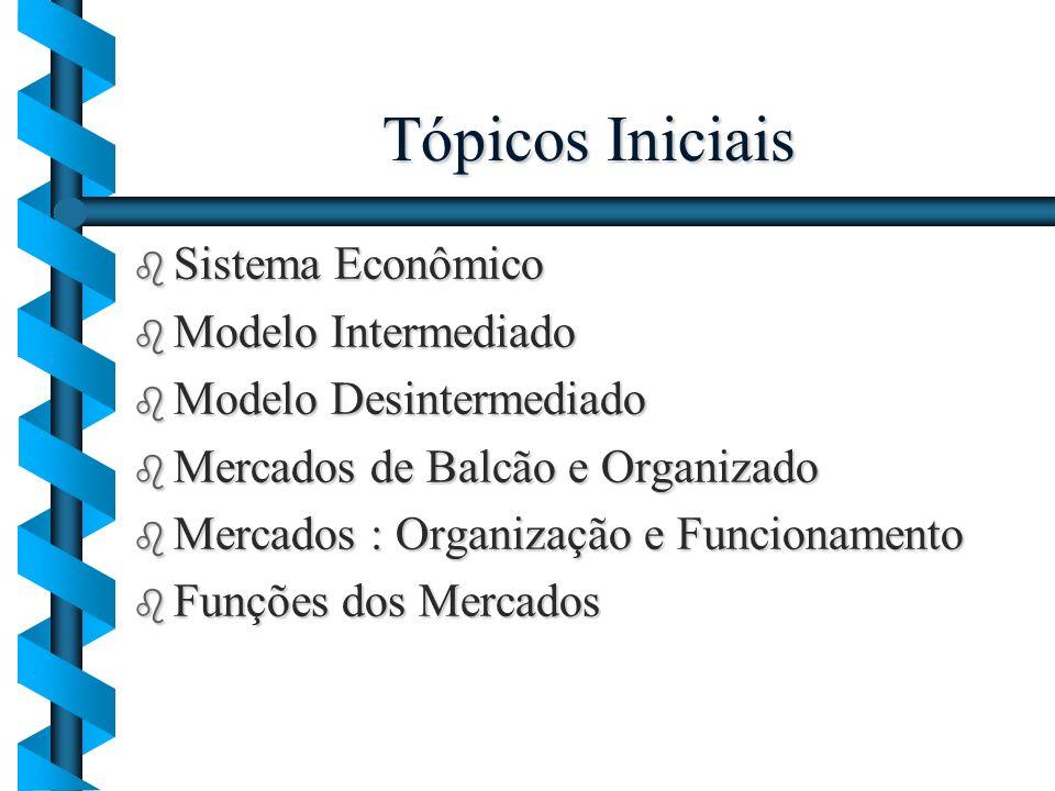 Tópicos Iniciais Sistema Econômico Modelo Intermediado