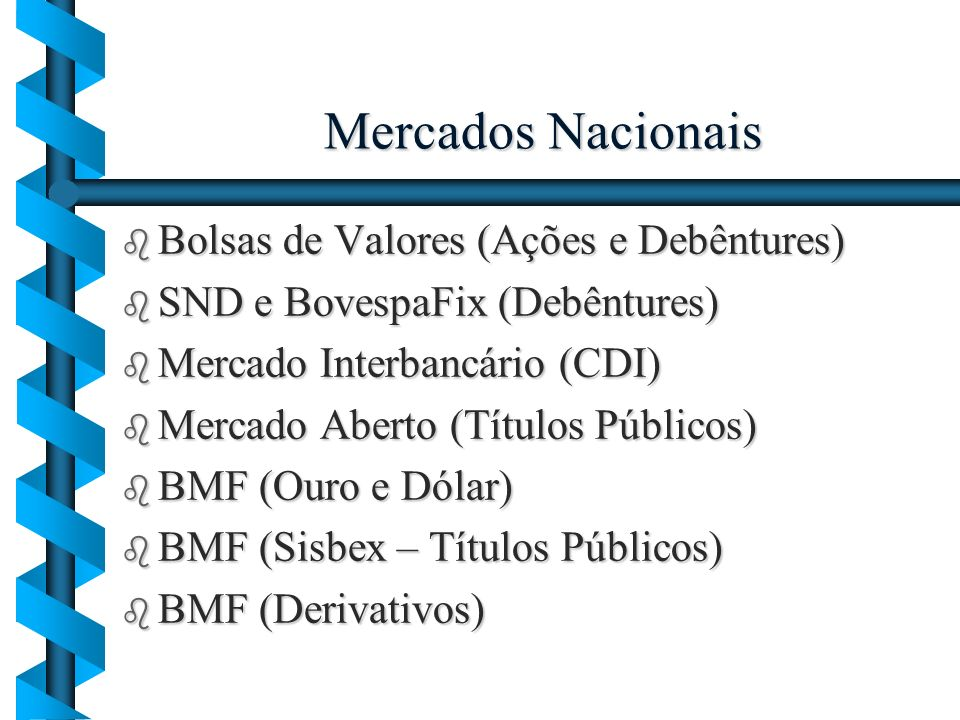 Mercados Nacionais Bolsas de Valores (Ações e Debêntures)