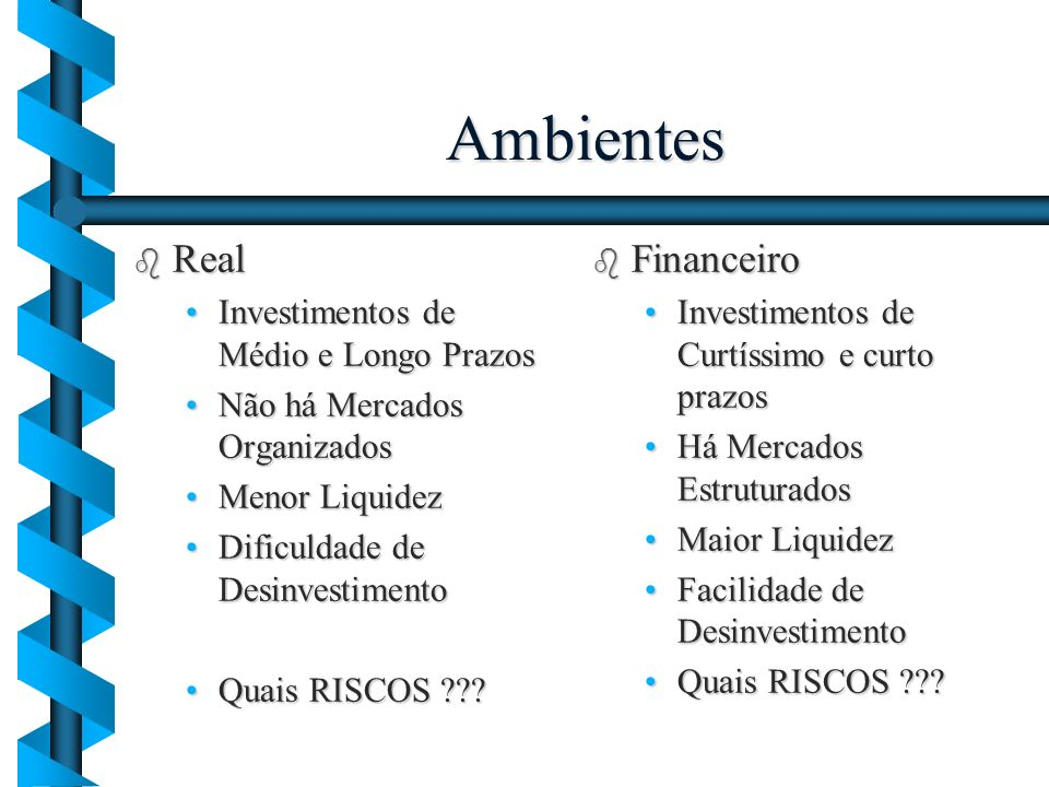 Ambientes Real Financeiro Investimentos de Médio e Longo Prazos