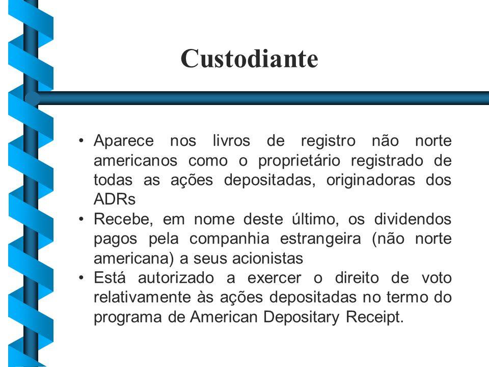 Custodiante Aparece nos livros de registro não norte americanos como o proprietário registrado de todas as ações depositadas, originadoras dos ADRs.