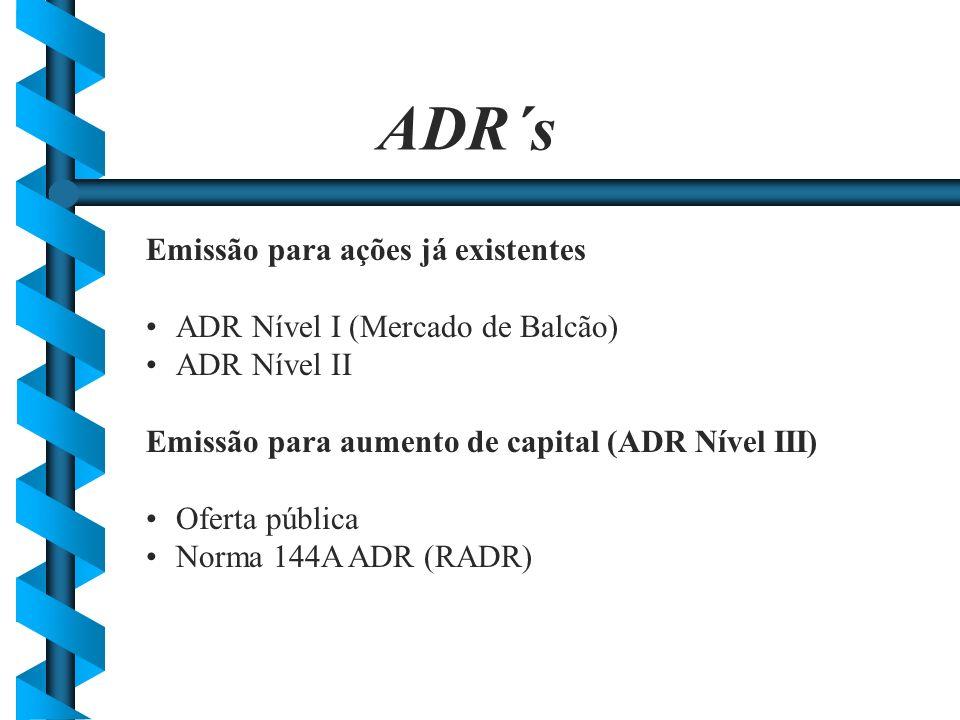 ADR´s Emissão para ações já existentes ADR Nível I (Mercado de Balcão)